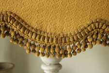 Valance Antique French Gold Pelmet w/ Chenille Trim 1860 Silk & Cotton Jacquard