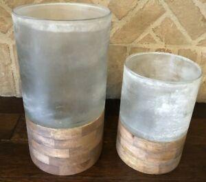 Pottery Barn Wood Frosted Glass Candle Holder Large Medium Set Decor