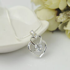 Women 925 Sterling Silver Crystal Plated Double Heart Pendant Chains Jewelry NEW