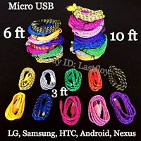 LOT Braided Micro usb data sync cable cord 3,5,10 FT for Samsung Galaxys LG HTC