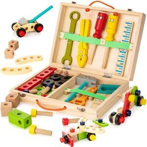 Puzzle Kinder Werkzeug Laubsägekasten Werkzeugkasten Holz Werkzeugkoffer Zubehör
