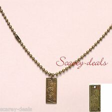 """24"""" Bronze ball chain necklace + dog tag $100 bill mens boys pendant 1st post"""