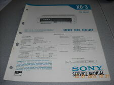SONY XO-3 Stereo Deck Receiver Service Manual