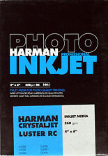 "Harman Photo Crystal Jet Inkjet Paper LUSTRE 4x6""  x100"