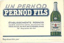 Carte de visite Pernod Fils 1960 alcool Ricard apéritif rue des Pyrénées