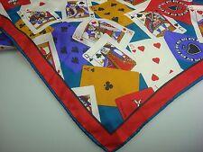 Elaine Gold Vintage Gambling, Cards, Poker Women Ladies Cards Aces Scarf Silk