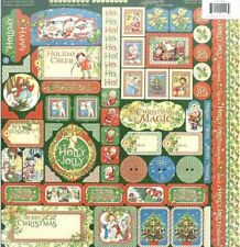 """Graphic 45 Christmas Magic Collection 12"""" Cardstock Tag Label Border Stickers"""