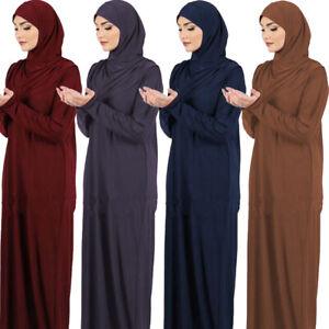 One Piece Long Khimar Women Muslim Dress Abaya Burqa Prayer Amira Hooded Islamic