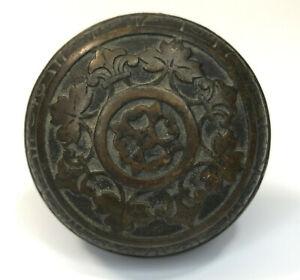 """Antique 1881 - 1895 Corbin Leaf Pattern H-11100 Bronze Door Knob 2 1/2"""" Diameter"""