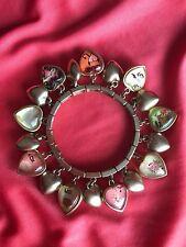 Betsey Johnson Vintage Puffy Heart Tattoo Lucite Naughty Nice Xox Bracelet Rare