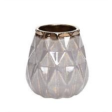 Hubsch Beautiful Dark Grey Vase with pattern and copper edge