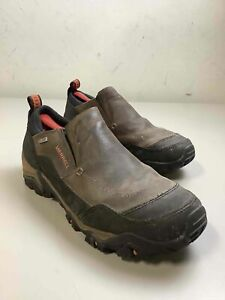 Men's Merrell Brown Leather Winter Slip On Shoes Size 12
