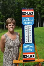 VINTAGE EX-LAX ORIGINAL PORCELAIN THERMOMETER SIGN RARE SUPER CONDITION WORKS!