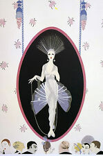 Erte 1982 - The PORTRAIT- Lady in SILVER and Long PEARLS Art Deco Print Matted