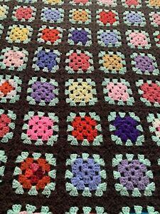 Vtg Granny Square Brown Background Afghan Crochet Throw Blanket Roseanne 50x52