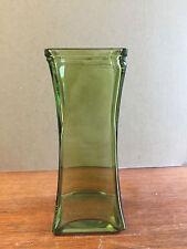 "Tall Cube Green Glass Flower Vase, 8.5"" Tall x 3.5"" Wide"