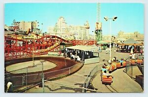 1958 Long Beach California Fun Zone Nu Pike Amusement Rides Posted Postcard C21
