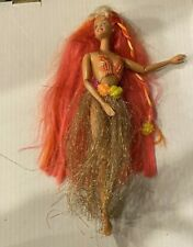 Hulu Barbie in glitter metalic grass skirt Colorful Hair Bathing Suit