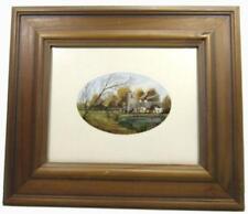 Print 1980's Circa Stella P Reading English Country Wood Framed 33 x 37.5 cm