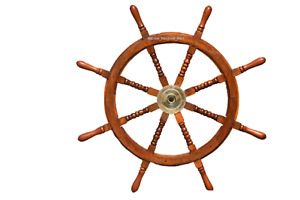 Nautical Wood Brass Finishing Pirate Boat Steering Decor Ship Wheel 36 Inch