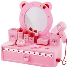 Wooden Beauty Playset with Mirror Role Play Toys for Girls with 13 accessories