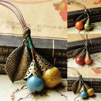Retro Ceramic Bead Pendant Necklace Women Long Sweater Chain Jewelry Accessories