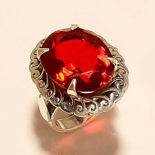 Natural Mexican Red Apatite Solitaire Ring 925 Sterling Silver Christmas Jewelry