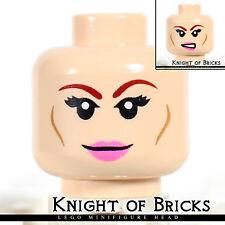 LEGO Minifigure Head LIGHT FLESH Female Dual Sided Pink Lips Smile / Bared Teeth