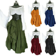 Medieval Costume Halloween Women Renaissance Long Dress Cosplay Victorian Robe