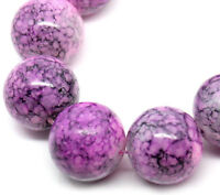 12mm HOT PINK with PURPLE Marble Pattern Round Glass Beads 30 beads bgl0262