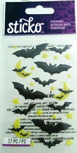 HALLOWEEN Creepy Black Bats Scary Night Moon Stars Sticko Epoxy Stickers