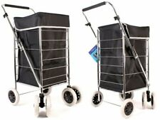 New Black Plain 6 wheel shopping trolley grocery foldable cart