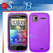 Purple Soft Gel TPU Cover Case For HTC Sensation + Film