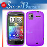 Purple Soft Gel TPU Cover Case For HTC Sensation + Film