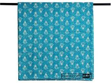 Turquoise Blue Color Kantha Quilts King Size Bedspreads Indian Handmade Blankets