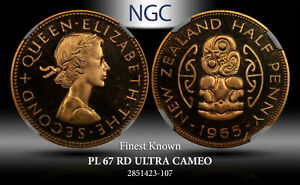 1965 NEW ZEALAND 1/2 PENNY NGC PL 67 RD ULTRA CAMEO FINEST KNOWN