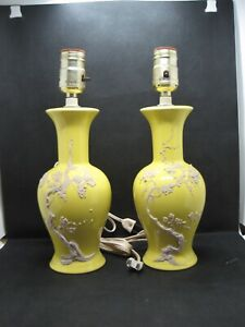 2 Vintage Bedroom Nightstand Lamps Bright Yellow Glaze with a Matte Slip Design