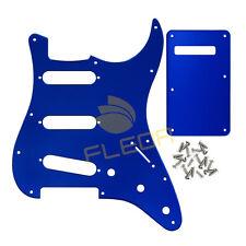 Fender Strat Electric Guitar SSS Pickguard 11Holes & Back Plate 1Ply Blue Mirror