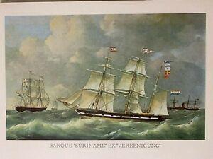 "Vintage Lithograph Print Barque ""Suriname"" Ex ""Vereenigung"" Sailing, Nautical"