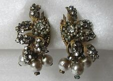 Vintage MIRIAM HASKELL Signed Beaded, Rhinestone, Dangling Faux Pearl Earrings