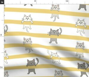 Yellow Cute Grey Modern Stripes Baby Spoonflower Fabric by the Yard