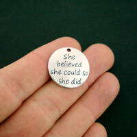 2 She believed she could so she did charms antique silver tone M716