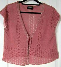 PRINCIPLES Open Knit Bolero Shrug, Tie Front & Embellishment - Size 16 approx