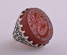 Islamic Silver Yemen agate hand engrave kabdi aqeeq akik Ring-يا محمد