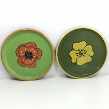 Lot Of 2 Hand Painted Tin Metal Platters Trays Flower Design Made In Japan