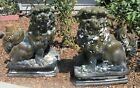 MASSIVE FINE PAIR ANTIQUE CHINESE FLAMBE FOO DOGS TEMPLE POTTERY STATUES 30 TALL