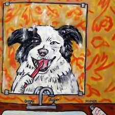 Border Collie brushing teeth coaster Dog art tile animals impressionism