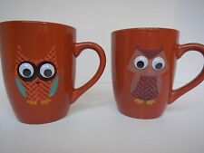 Pair of OWL Mugs with Googly eyes Coffee Tea Cup Christmas Gift SUPER cute!