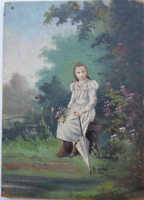 Antique French 1900s Miniature Oil Painting on Wood Panel Young Girl Picture
