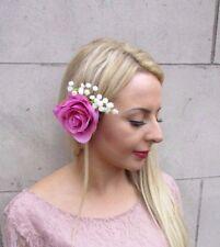 Hot Pink Rose White Gypsophila Flower Hair Clip Fascinator Wedding Floral 4072